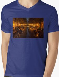 Amsterdam Canal in Golden Yellow Mens V-Neck T-Shirt