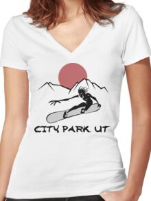City Park, Utah Snowboarding Women's Fitted V-Neck T-Shirt