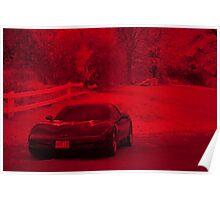 Infrared black Corvette. Poster