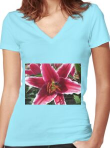 Sock it to 'em, Baby! Asiatic Lily Macro Women's Fitted V-Neck T-Shirt