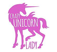 Crazy Unicorn lady in purple Photographic Print