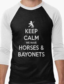 Horses and Bayonets (White Text) Men's Baseball ¾ T-Shirt