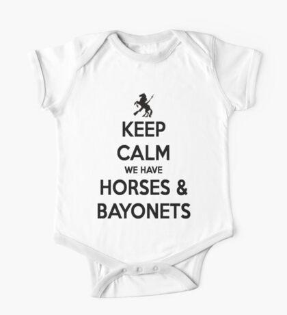 Horses and Bayonets (Black Text) One Piece - Short Sleeve