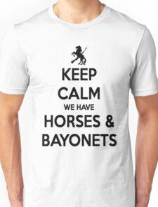 Horses and Bayonets (Black Text) Unisex T-Shirt
