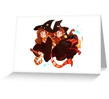Little Witch Twins Greeting Card