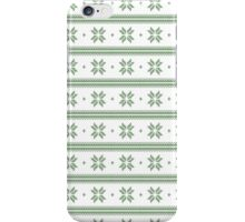 White and green knitted christmas snowflakes seamless pattern iPhone Case/Skin