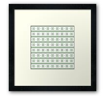 White and green knitted christmas snowflakes seamless pattern Framed Print
