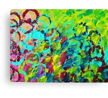 A LITTLE OF THIS - Bright Colorful Abstract Ocean Painting Circle Whimsical Magenta Lime Fun Gift Canvas Print