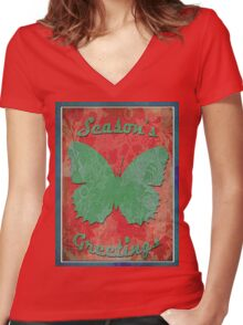 two tone butterfly Women's Fitted V-Neck T-Shirt