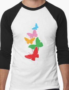 5 cute rainbow butterflies flying up Men's Baseball ¾ T-Shirt