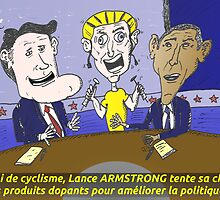 Caricature d'Obama Romney et Armstrong by Binary-Options