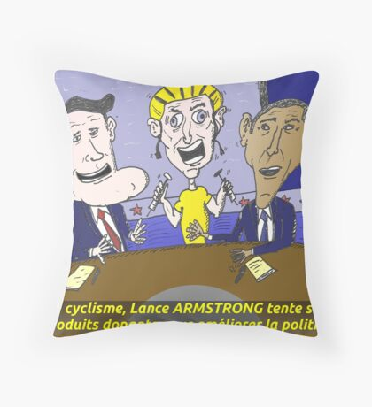 Caricature d'Obama Romney et Armstrong Throw Pillow