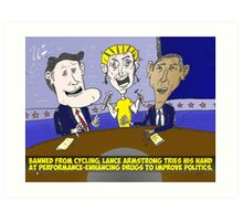 Caricature of Obama Romney and Armstrong Art Print