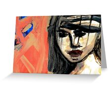 Blue Nude Pink Face Greeting Card