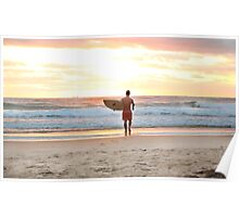 Surfing at Sunrise Poster
