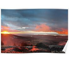 Foggy Cadillac Sunset Poster