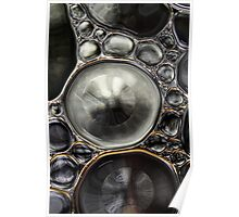 Onyx & Silver Bubble Abstract Poster