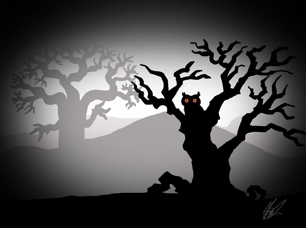 Creepy Halloween Owl by JillySB