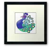 A splendid green and blue Peacock Framed Print