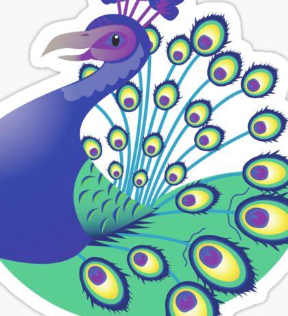 A splendid green and blue Peacock Sticker