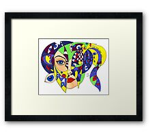 Yellow Alien doodle Framed Print