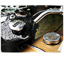Vintage Triumph motorcycle gas tank Poster