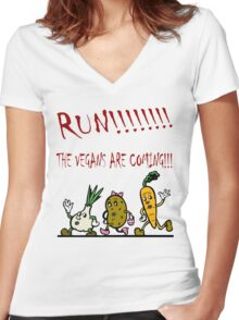 Run! The Vegans are Coming! Women's Fitted V-Neck T-Shirt