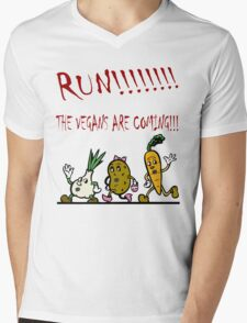 Run! The Vegans are Coming! Mens V-Neck T-Shirt