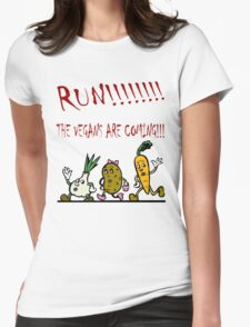 Run! The Vegans are Coming! Womens Fitted T-Shirt