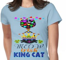 ㋡♥♫Irish Shamrock Crowned King Cat Fantabulous Clothing & Stickers♪♥㋡ Womens Fitted T-Shirt