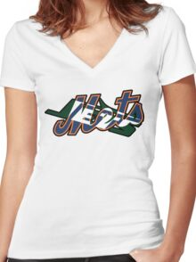 New York Sports Teams 2 -Mets & Jets Women's Fitted V-Neck T-Shirt