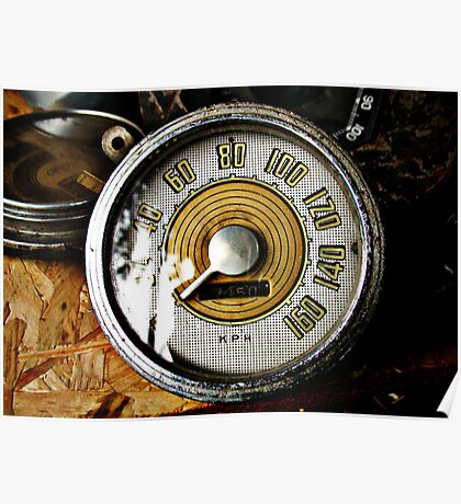 Vintage automobile speed gauge Poster