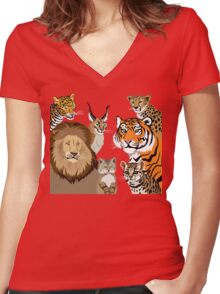 I Am Thankful For Felidae Women's Fitted V-Neck T-Shirt