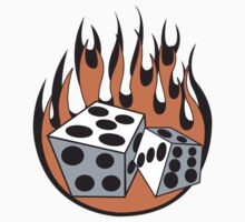 Flaming Dice Retro by SportsT-Shirts