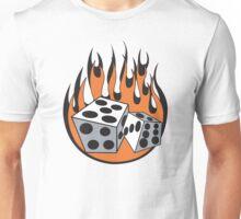 Flaming Dice Retro Unisex T-Shirt
