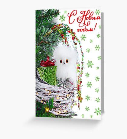 Christmas Adorable Baby Owl Vintage Rustic  Greeting Card