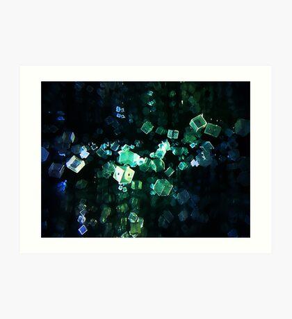 Multi Faceted Blue Green Blocks In Motion Art Print