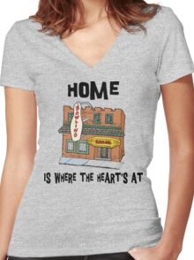 "Bowling ""Home Is Where The Heart's At"" Women's Fitted V-Neck T-Shirt"