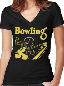 Bowling Vintage Dark Women's Fitted V-Neck T-Shirt