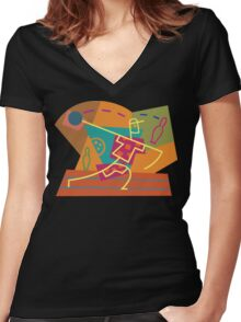 Abstract Bowling Women's Fitted V-Neck T-Shirt