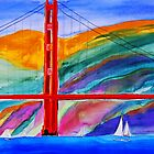 Golden Gate & Sailboat by NicholasVitale