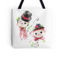 Vintage Snowman family for Christmas Tote Bag