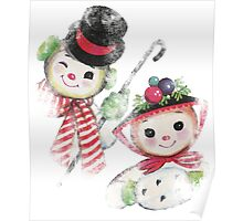 Vintage Snowman family for Christmas Poster