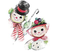 Vintage Snowman family for Christmas Photographic Print