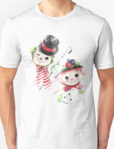 Vintage Snowman family for Christmas T-Shirt