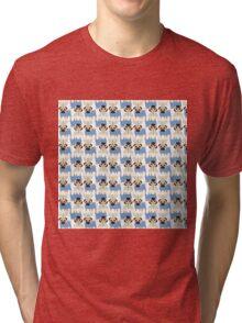 Hanukkah Pugs with Menorah Tri-blend T-Shirt