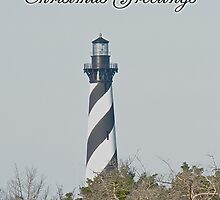 Merry Christmas Greeting Card - Cape Hatteras Lighthouse by MotherNature