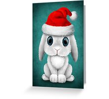 White Floppy Eared Baby Bunny Wearing a Santa Hat  Greeting Card