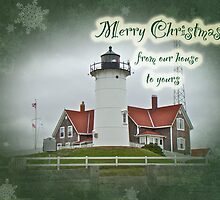 Our House to Yours Christmas Greeting Card - Nobska Lighthouse by MotherNature
