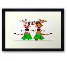 Luna and Sola, the hula-hula moo-cows. Framed Print